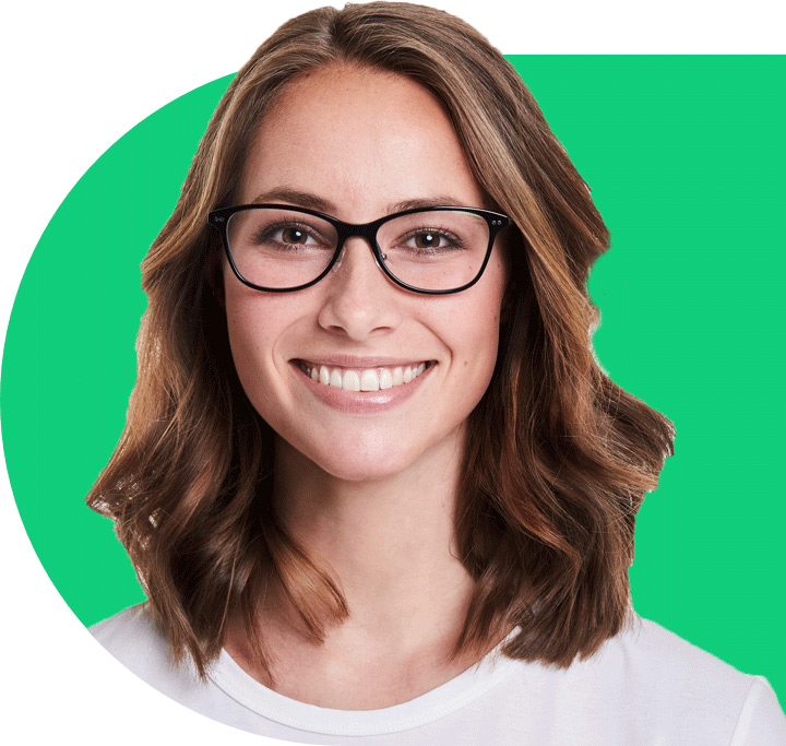 Woman Smiling with green design element behind them
